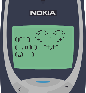 Text Message 174: Just sending a warm heart in Nokia 3310