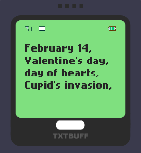 Text Message 2936: February 14 in TxtBuff 1000