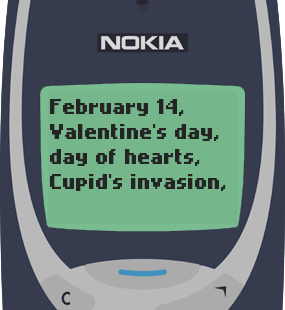 Text Message 2936: February 14 in Nokia 3310