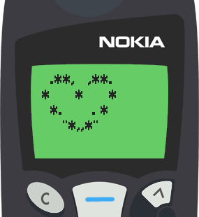 Text Message 2937: Valentines Day heart in Nokia 5110