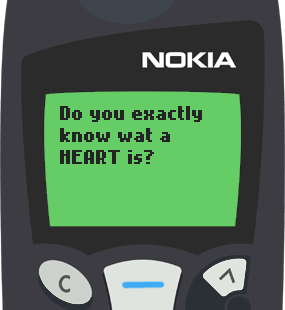 Text Message 774: Do you know what a heart is? in Nokia 5110